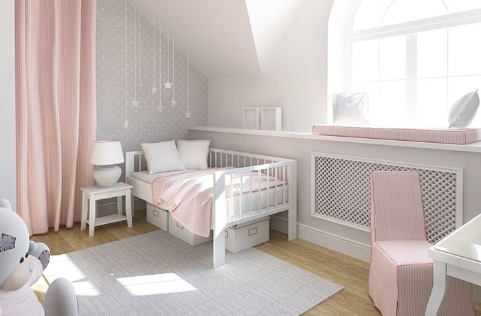 розовый в интерьере, классическая детская комната, дизайн интерьера детской, обои в горошек, белая мебель в детской, детская комната ИКЕА, дизайнер интерьера Антон Печёный