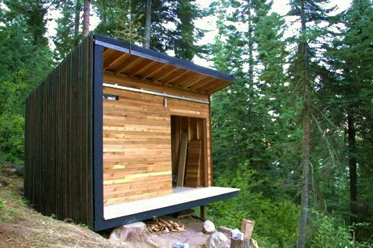 Micro cabin - living area reminds me of the cabin dad first built :)