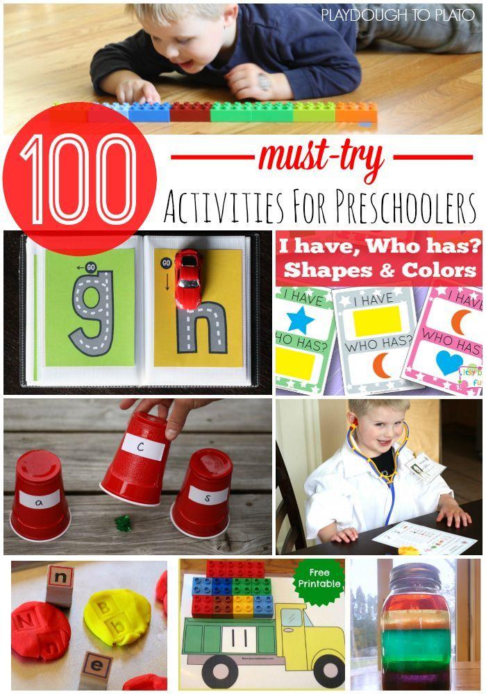 100 Preschool Activities Kids Will Love!! Preschool math, preschool science, alphabet games and more. Tons of fun ideas for classroom centers or homeschool activities.