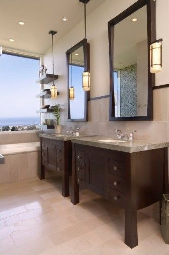 Modern & Chic bathroom. Love it!Bathroom Design, San Diego, Contemporary Bathrooms, Beach Style, The View, Vanities, Bathroom Ideas, Master Bath, Pendants Lights