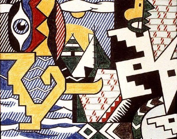 Reproduction de Roy Lichtenstein, Pow Wow. Tableau peint à la main dans nos ateliers. Peinture à l'huile sur toile.