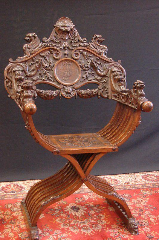 SAVONAROLA CHAIR attributed to Luigi Frullini, a 19th century Italian wood carver.