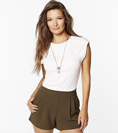Look summer perfect in this cropped bodycon top & soft pine tree shorts!