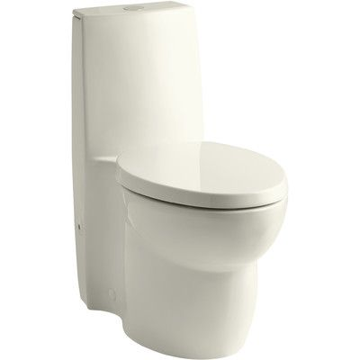 Kohler Saile Skirted One-Piece Elongated Dual-Flush Toilet with Top Actuator and Saile Quiet-Close Toilet Seat with Quick-Release Functionality Fin...