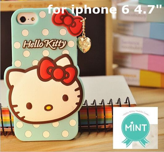 3D Hello Kitty Soft rubber case For iPhone 4/4s/5/5s/S/6/6s/7 4.7 5.5 inch plus