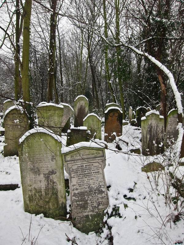 "Snowfall at Bow Cemetery, one of the ""Magnificent Seven"" created by act of Parliament in 1832 as the growing population of London overcrowded the small parish churchyards. Extending to twenty-seven acres and planned on an industrial scale, ""The City of London and Tower Hamlets Cemetery"" as it was formally called, opened in 1841 and within the first half century alone around a quarter of a million were buried here.  Spitalfields Life"