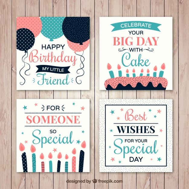 Pack of four birthday card with candles and balloons Free Vector