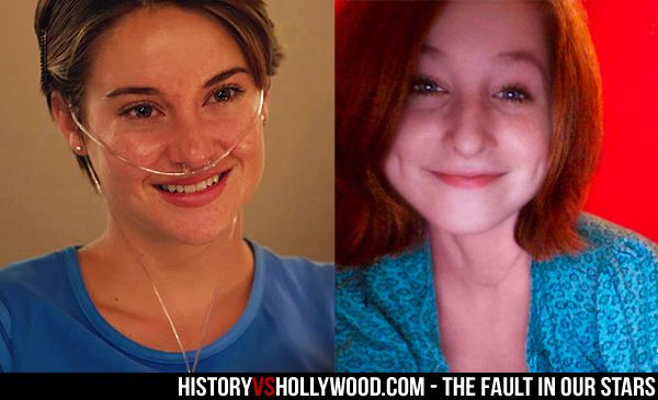 Actress Shailene Woodley from The Fault in Our Stars next to the real-life inspiration for Hazel, Esther Earl.