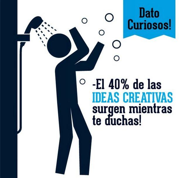 Sabias que? El 40% de las ideas creativas surgen mientras te duchas!
