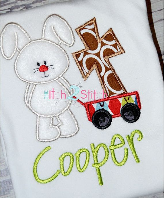 Easter Bunny Wagon with Cross Applique Shirt by OhhSoSweetBoutique, $20.00