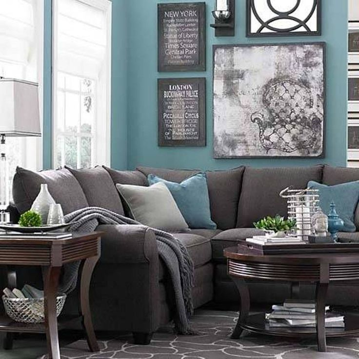 Living Room , Good Color Combinations For Living Rooms : Color Combinations  For Living Rooms Grey And Turquiose And Wooden Coffee And End Table