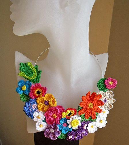 Crochet necklace ...Garden of happiness by Fibreromance, via Flickr