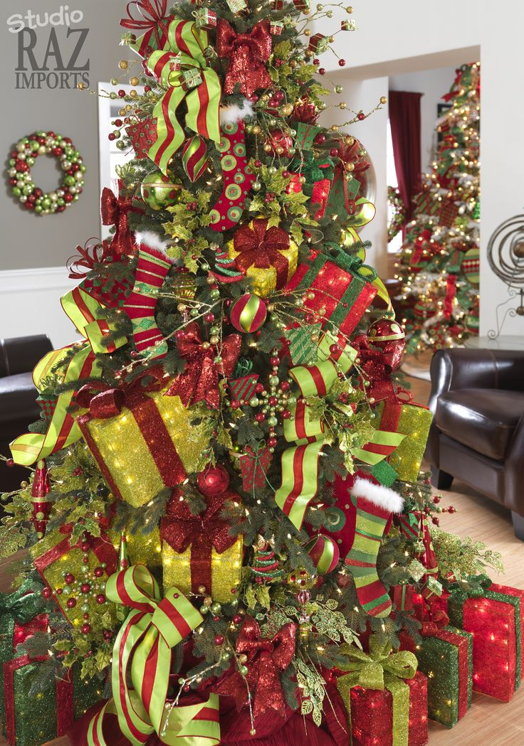 596 best christmas trees images on pinterest christmas for Christmas tree colour ideas