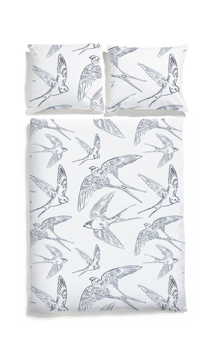 White pocket swallow bed linen #birds #bedding #duvetcover