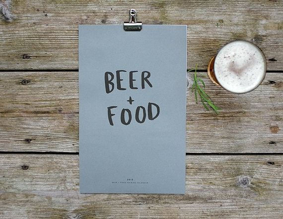 2015 Beer and Food pairings calendar is here!  Each month features an illustrated variety of beer and an ideal food pairing. Stout + Beef Stew, Kolsch