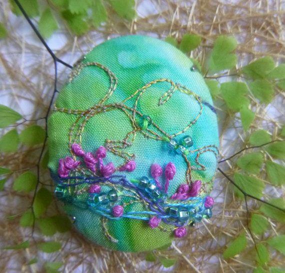 Spring Time Brooch by ArtFiberStitch on Etsy
