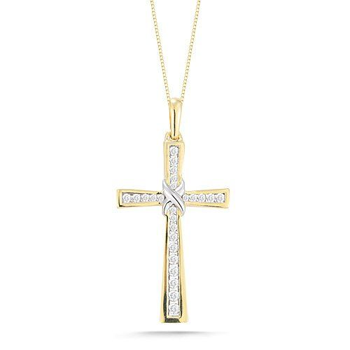 10k Yellow Gold Diamond Cross Pendant Necklace « Holiday Adds