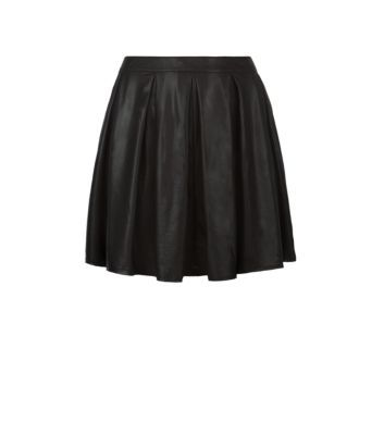 AX Curve Black Leather-Look Pleat Skater Skirt
