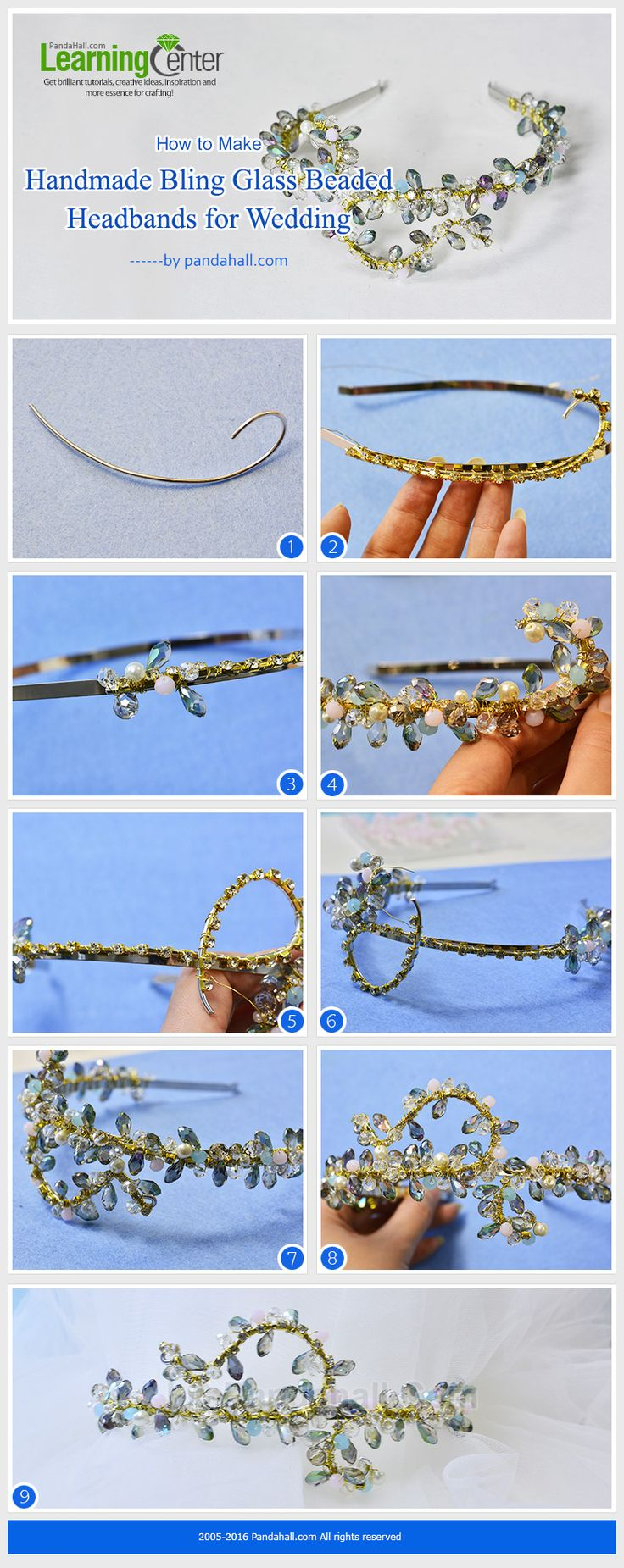 LC.Pandahall.com has published the tutorial on How to Make Handmade Bling Glass Beaded Headbands for Wedding.