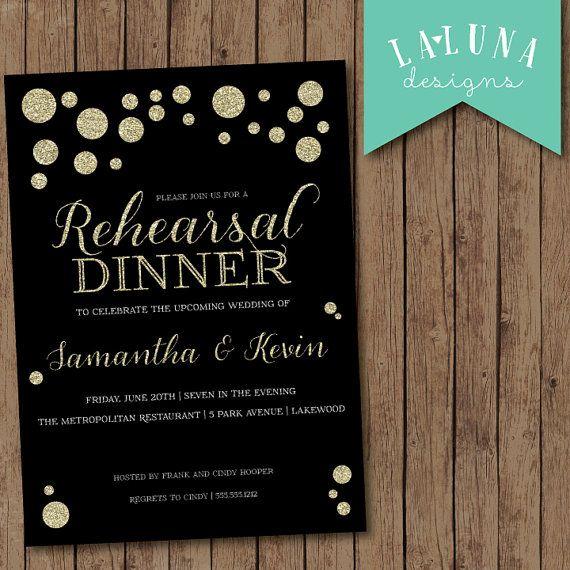 Rehearsal Dinner Invitation, Wedding Rehearsal Dinner Invite, Gold Polka Dots Invitation, DIY Printable Rehearsal Dinner Invite on Etsy, $18.67 AUD
