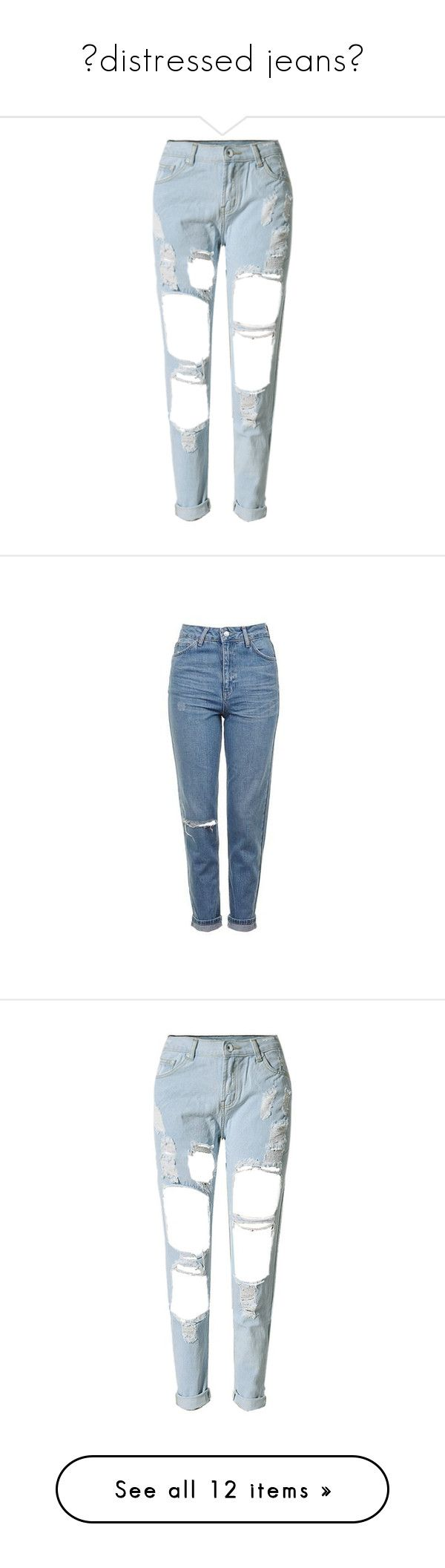 """""""🖤distressed jeans🖤"""" by mazzyfaye ❤ liked on Polyvore featuring jeans, pants, bottoms, trousers, white straight leg jeans, high rise jeans, high rise straight leg jeans, light blue ripped jeans, white ripped jeans and pantalones"""