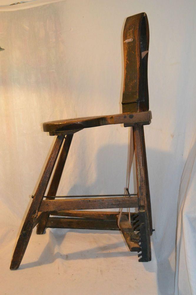 Oak Leather Saddle Makers Bench Primitive Antique Wooden W