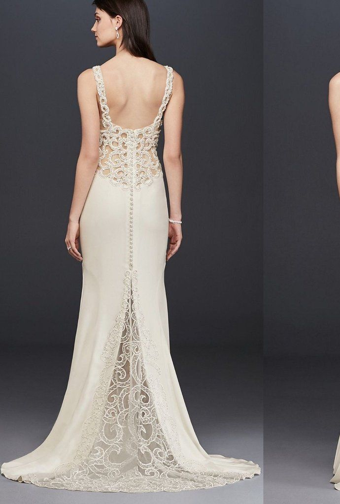 c602af5cbdcb9 Galina Signature 'Beaded Illusion and Crepe Sheath' in 2019   Shop Nearly  Newlywed   Wedding dress backs, Wedding dresses, Used wedding dresses