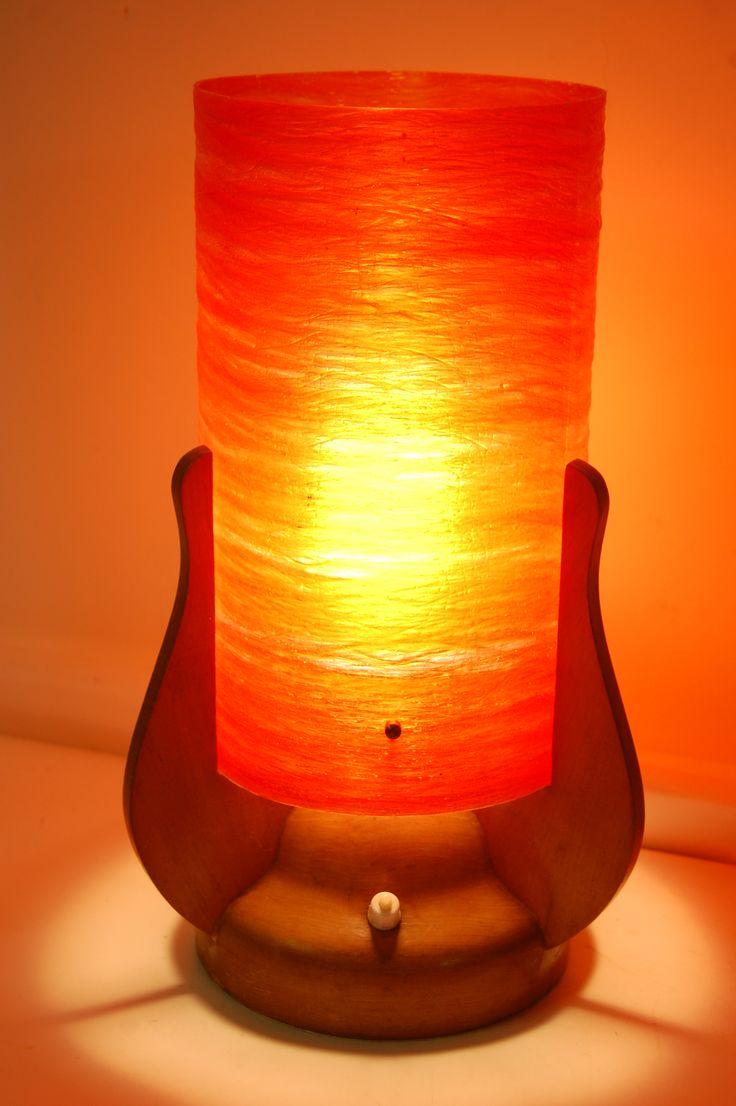Fab 1960s Teak Lamp With Integral Orange Fibreglass Shade