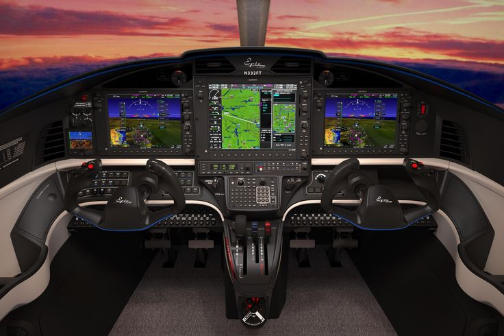 E1000 interior console shot by Jamie Klopp of Epic Aircraft, rendered using KeyShot.