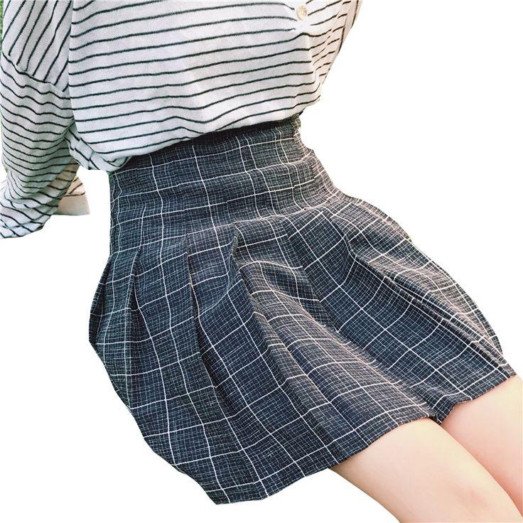 2017 Harajuku Automne Hiver Femmes Harajuku Collège Vent Poudre Taille Haute Plissée À Carreaux Jupe Femelle Mignon Coréen Kawaii Jupes