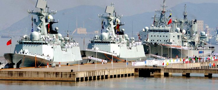 "In this July 3, 2012 file photo released by China's Xinhua News Agency, the 12th Chinese naval flotilla, consisting of frigate ""Yiyang"", left, frigate ""Changzhou"" center, and comprehensive supply ship ""Qiandaohu"", prepare to set sail for the escort mission in the Gulf of Aden and Somali waters to protect commercial ships from pirate attacks at a port in Zhoushan, east China's Zhejiang Province. China's navy said Monday, April 10, 2017, its forces rescued a freighter from attack by pirates in…"