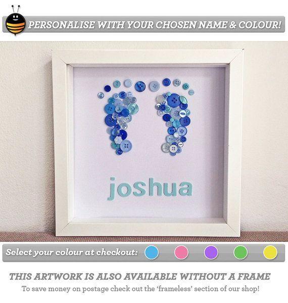 diy crafts for baby boys | Nursery Art, Baby Boy Art, Button Art, Children Artwork, Customised ...