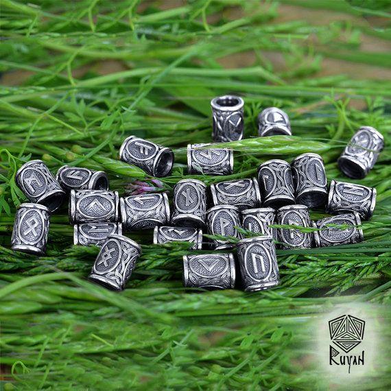 Perles de Runes Viking. Perles pour la barbe ou les cheveux Viking Rune  Elder Futhark