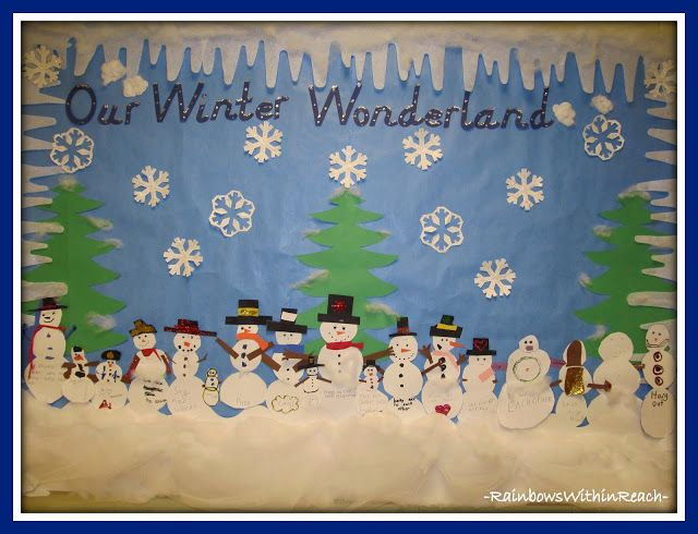"Winter Bulletin Board Ideas | photo of: ""Our Winter Wonderland"" Bulletin Board via Winter RoundUP at ..."