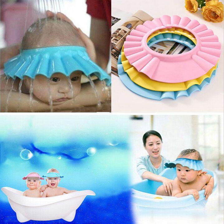 Регулируемая шапочка для Душа защитить Шампунь для ребенка здоровье Купание ванной водонепроницаемый шапки шляпа ребенок детей малыша Мыть Волосы Щит Hat