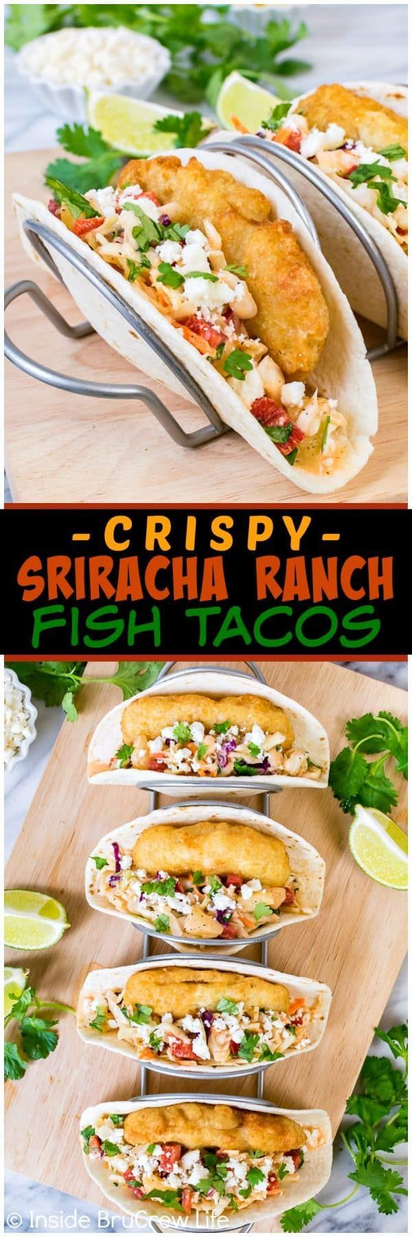 Crispy Sriracha Ranch Fish Tacos - crispy fish fillets topped with a sweet and spicy coleslaw makes an easy dinner. Great recipe to make for busy nights! #fishtacos #sriracha #coleslaw #seapak #sponsored