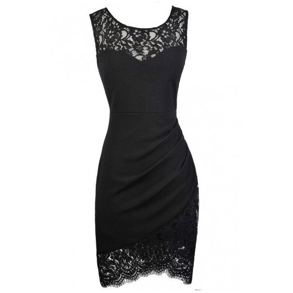 Lace Trim Pencil Dress with Crossover Hem in Black ($75) ❤ liked on Polyvore featuring dresses, little black dress, lbd dress, cross over dress, lace pencil dress and pencil dress