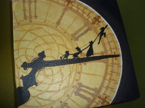 """Peter Pan Set of 3 Canvas Paintings, """"You know the place between sleep and awake"""" J.M. Barrie Quote, Peter Pan Clock Tower, Peter Pan Moon"""