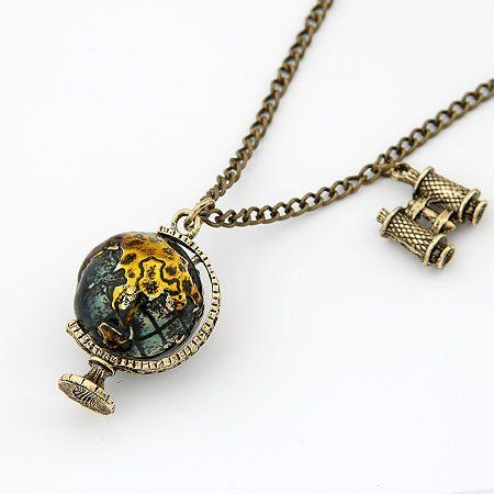 Your eyes do not deceive you, this is a vintage-style, antique-inspired globe pendant necklace, with some teeny binoculars; an amazing gift for the world traveller, the explorer, the wanderer, the bac