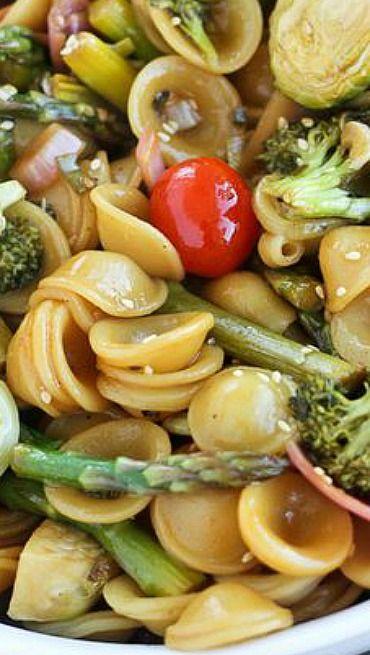Asian Ginger Sesame Roasted Vegetable Pasta