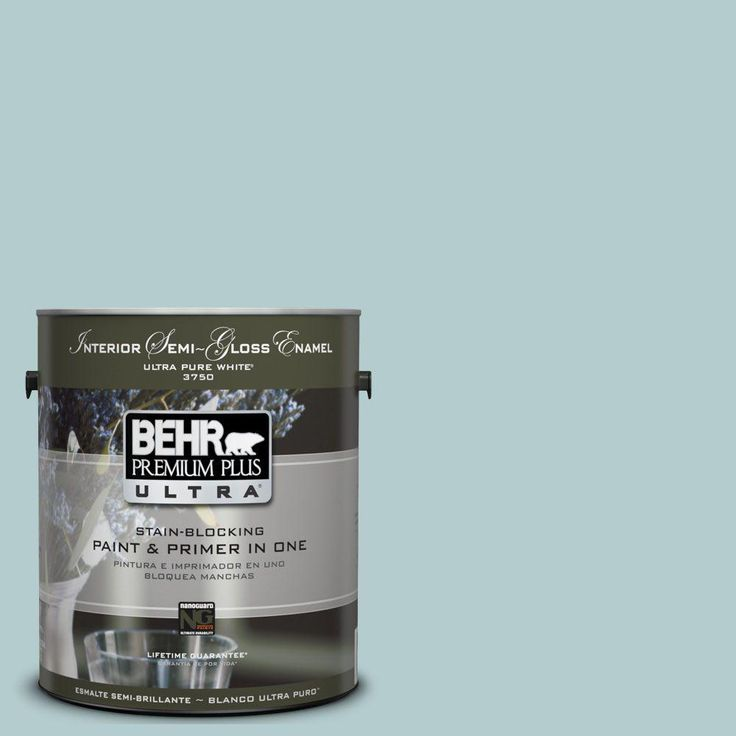 BEHR Premium Plus Ultra 1-gal. #UL220-8 Clear Pond Interior Semi-Gloss Enamel Paint-375001 - The Home Depot