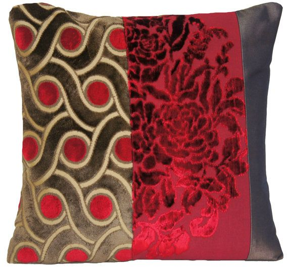 Red And Brown Velvet Home Decorative Pillow Case Designers Fabric Xmas Contemporary Cushion Cover Unique Modern Patchwork Decor
