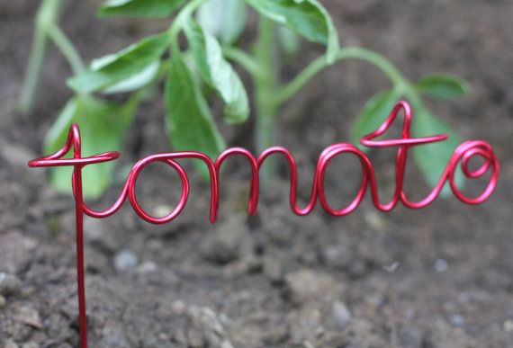 Wire word garden / vegetable marker by bopPOWER on Etsy, $12.00