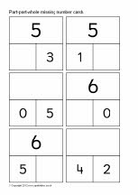 Printable part-whole number cards to 20