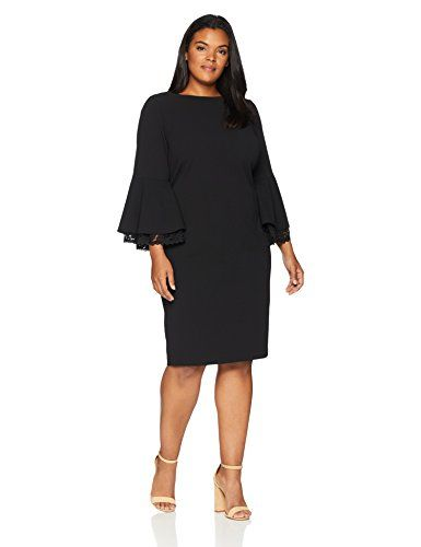 ee5f60764385c5 Great for Calvin Klein Women s Plus Size Lace Trim Bell-Sleeve Sheath Dress  online.   113.37  offerdressforyou from top store