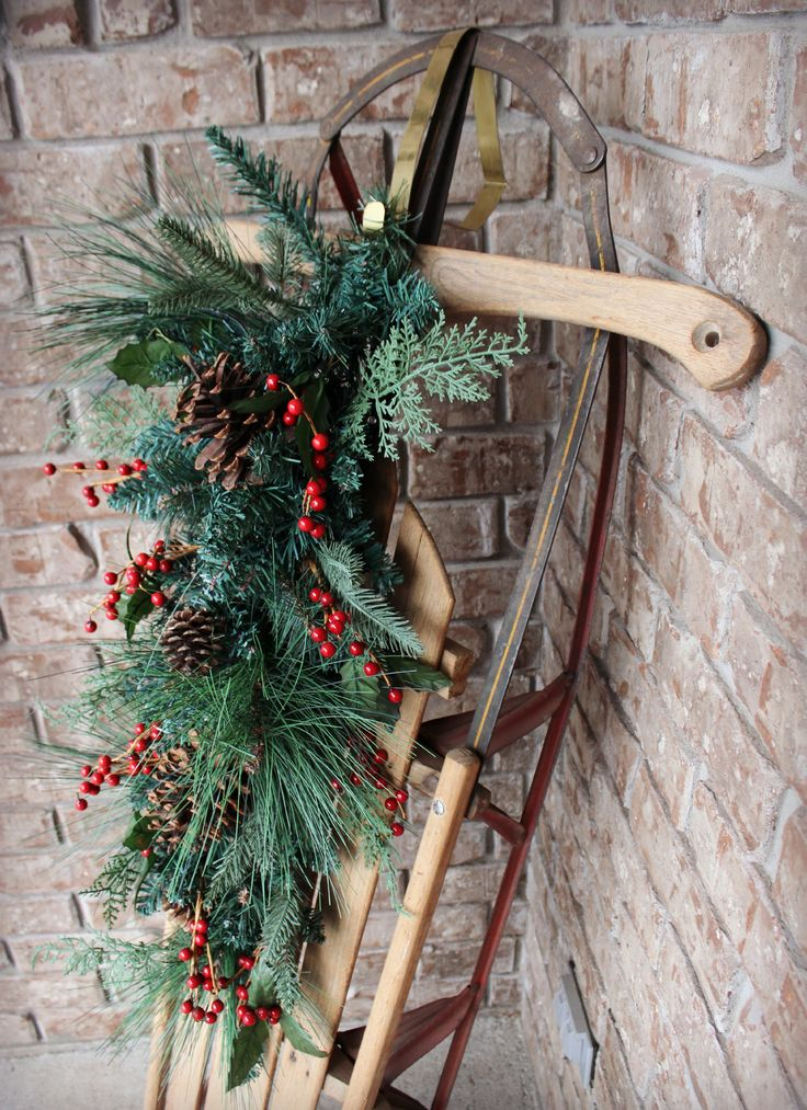 Decorated sled on the porch... so pretty for winter