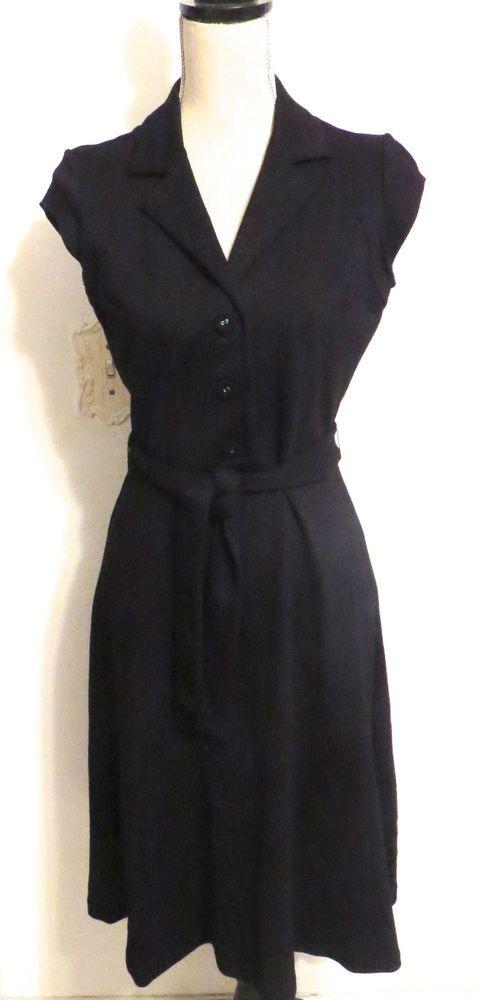 Calvin Klein Black Rayon/Nylon/Spandex Cap Sleeve Button Down Belted Dress - Size 4