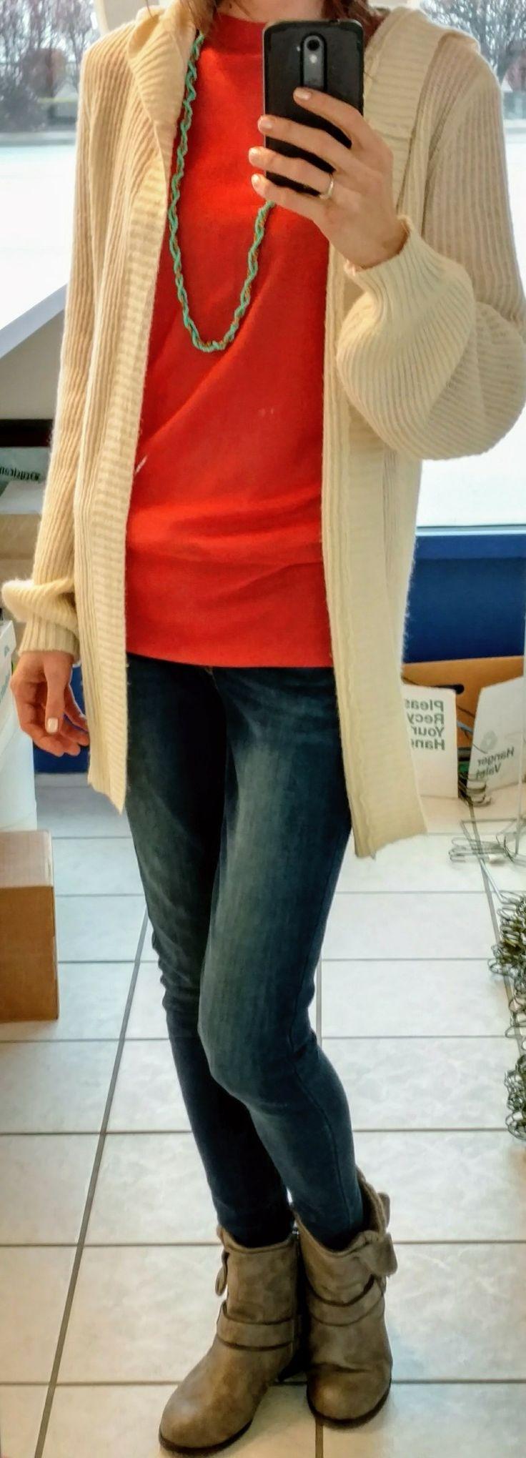 Ann Taylor shirt, Mudd bishop sleeve cardigan, Levi's 535 Super Skinny jeans, SO boots