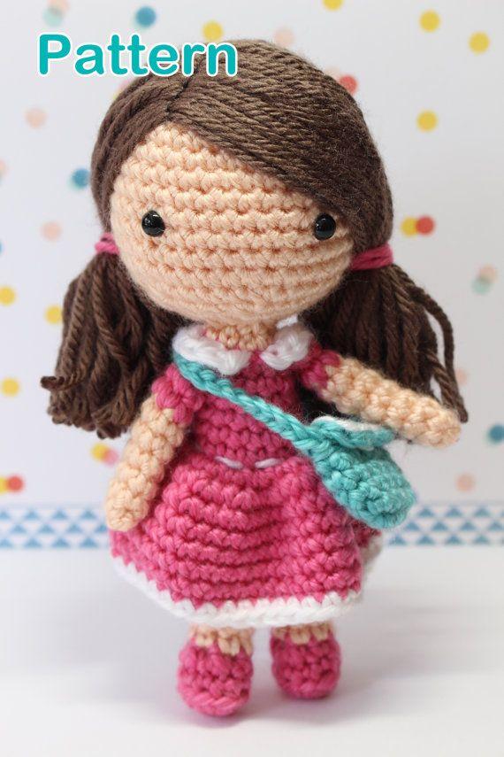 Crochet Amigurumi Cute Girl Candy Dolls PDF Pattern Stuffed Toy Gift Kawaii pink dress handbag