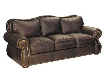 This is so rustic looking! It reminds me of Bonanza. lol Hampton Leather Sofa